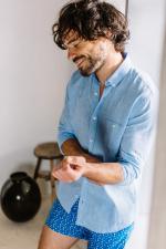 Man wears a Mixed Blue shirt 2