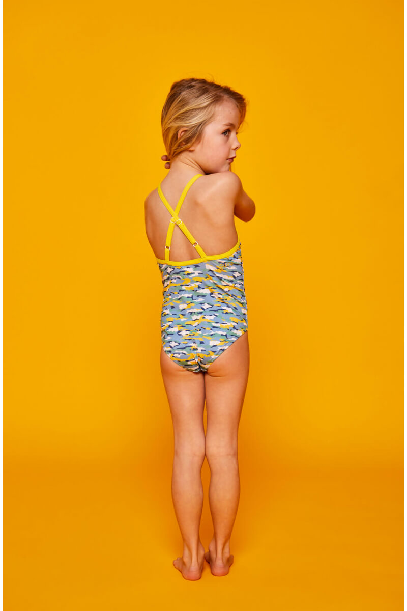 girls wearing a one-piece swimsuit Camouflage GILI'S x BENSIMON