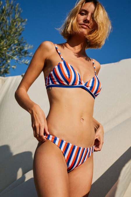 woman wearing a two-piece swimsuit La Baule