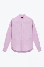 pink striped mandarin collar shirt for men